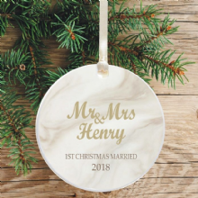 First Christmas as Mr & Mrs Keepsake Decoration - Marbled Design